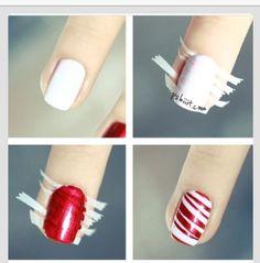 Nails, nail art, nail design, DIY, red, white, Christmas