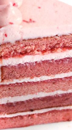 Triple Strawberry Cake with REAL Strawberries ~ This cake is made with all real strawberries! No artificial flavors or added J-Ello.
