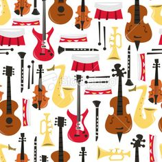 Musical Instruments Seamless Pattern Background Royalty Free Stock Vector Art Illustration