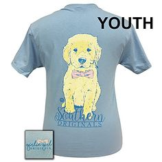 690275e4e Girlie Girls Bowte Golden Retriever Pup Short Sleeve T-Shirt - YOUTH: This  adorable Bowtie Retriever tee is a preppy must have!