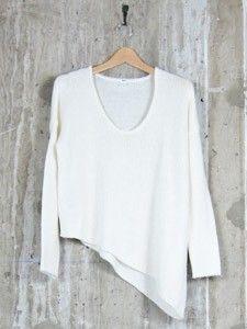 cozy modern helmut lang sweater in winter white.