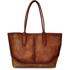 Frye Cara Leather Tote Bag (3.320 NOK) ❤ liked on Polyvore featuring bags, handbags, tote bags, cognac, leather purses, brown leather handbags, handbags totes, tote purses and leather tote bags