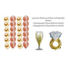 Gold Party Decorations, Bachelorette Gifts, Engagement Party Decorations, Bachelorette Party Decorations, Bachelorette Weekend, Champagne Engagement Rings, Rose Gold Engagement, Gold Balloons, Latex Balloons
