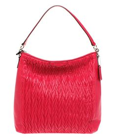 Look what I found on #zulily! Raspberry Gathered Leather Convertible Hobo by Coach #zulilyfinds
