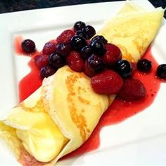 These dainty sweet crepes await your favorite dessert fillings, be they as simple as jam or ice cream, or as complicated as Cherries Jubilee. At least the crepes themselves are easily made! Dessert Crepe Recipe, Dessert Recipes, Dessert Food, Breakfast Desayunos, Breakfast Recipes, Mexican Breakfast, Pancake Recipes, Waffle Recipes, Breakfast Sandwiches