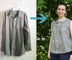 Upcycle a Men's Shirt into a Retro Summer Blouse, complete 35 step tutorial.  For an experienced beginner or higher.  Really easy!