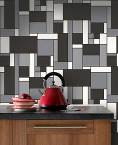 """A retro """"Mondrian"""" style tile wallpaper effect in bold colors. This pattern is perfect for kitchens and bathrooms, as it is water resistant! Application Instructions: Paste The Paper"""
