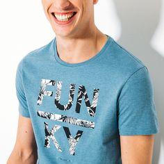T-shirt, col rond, imprimé FUNKY Bleu Turquoise Homme - Jules