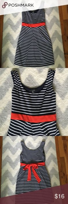 NEW LISTING ✨navy striped dress with red bow ✨ Hardly worn! Excellent condition. Navy and white stripes with red bow! Really comfortable. Fabric is shown in last picture. Please use offer button. Fast shipper and top 10% seller Forever 21 Dresses