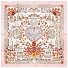 4d4a3d9559cc Decoupages by Anne Rosat Hermès Silk Scarf  Shades of Pink   Vintage Carré