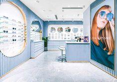 ALEKSA studio designed flagship stores for eyewear brand For Arts Sake in London and Shanghai Boutique Interior, Shop Interior Design, Shanghai, Pharmacy Design, Retail Design, Jewelry Store Design, Blue Velvet Fabric, Studio, Optical Shop