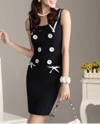 Cute Flat Collar Sleeveless Double-Breasted Bowknot Embellished Women's Dress