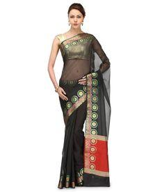 Loved it: Bunkar Black Supernet Banarasi Saree With Blouse Piece, http://www.snapdeal.com/product/bunkar-black-supernet-banarasi-saree/676680746181