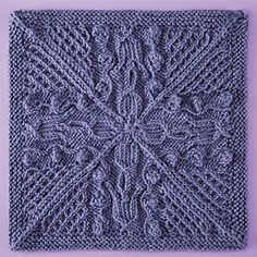 Knitterati Afghan Block 24 by Mari Tobita using Cascade Yarns® 220 Superwash®. This highly textured medallion is worked in the round from the outer edge.