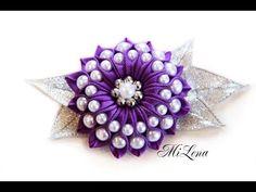 Цветок с бусинами / Пошаговый МК / DIY Ribbon flower / DIY Flower with beads - YouTube