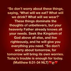 """So don't worry about these things, saying, 'What will we eat? What will we drink? What will we wear?' These things dominate the thoughts of unbelievers, but your heavenly Father already knows all your needs. Seek the Kingdom of God above all else, and live righteously, and he will give you everything you need. ""So don't worry about tomorrow, for tomorrow will bring its own worries. Today's trouble is enough for today. (Matthew 6:31-34 NLT)❤ღ❤"