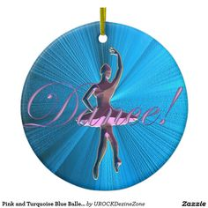 Pink and Turquoise Blue #Ballerina #Ornament  #zazzle