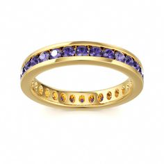 Eternity Ring with Iolite in 14k Yellow Gold at Colors of Eden #eternity #ring