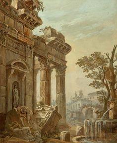 Clerisseau Charles-Louis - Architectural Fantasy - OR-2538.jpg 1,208×1,476 pixels