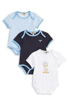 Armani Junior Bodysuits (3-Pack) (Baby Boys)