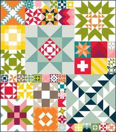 Moda Building Blocks Quilt Kit by Moda.  Modern bright rainbow sampler.  Moda Bella Solids sampler quilt.  affiliate link.