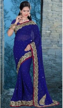 Traditional Style Designer Saree in Georgette Deep Blue Color   FH516078487 #party , #wear, #saree, #saris, #indian, #festive, #fashion, #online, #shopping, #designer, #usa, #henna, #boutique, #heenastyle, #style, #traditional, #wedding, #bridel, #casual, @heenastyle , #blouse, #prestiched, #readymade, #stitched , #Georgette , #embroidery