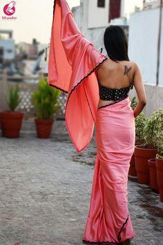 Buy Peach Pink Satin Bead Work Scallop Border Saree Online in India Satin Saree, Chiffon Saree, Velvet Saree, Pink Saree, Saree Jacket Designs, Saree Blouse Neck Designs, Fancy Sarees Party Wear, Bridesmaid Saree, Lehenga Saree Design