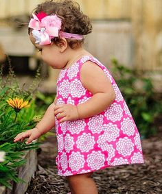 Loving this Pink & White Summer Vintage Swing Top - Infant & Toddler on #zulily! #zulilyfinds