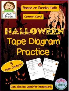 Tape diagram practice with Halloween word problems and pictures!Fun Math centers for a week or for use as homework.Based on Eureka Math Module 3.Answer keys included. Common Core aligned!