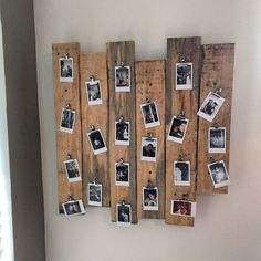 Pallet wood polaroid picture frame thing - New Deko Sites Polaroid Pictures Display, Polaroid Picture Frame, Polaroid Display, Polaroid Wall, Polaroid Photos, Pallet Picture Display, Polaroid Crafts, Instax Wall, Polaroids On Wall