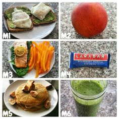 Todays eats! M1 ● eggs, toast and avocado. M2 ● peach and coffee with soy milk. M3 ● salmon, bell pepper & spinach. M4 ● Lara bar. M5 ● protein pancakes, figs & sf syrup. M6 ● protein shake. Sooo tired and sore! G'night