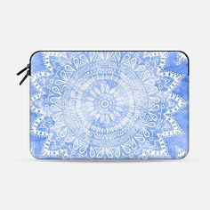 BLUE BOHEMIAN FLOWER MANDALA // MACBOOK SLEEVE - Macbook Sleeve