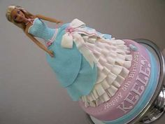 Barbie Cinderella Princess Doll Cake - How to Make a Doll Cake by Pink C. Barbie Birthday Cake, Cinderella Birthday, Barbie Party, Birthday Cakes, 5th Birthday, Birthday Ideas, Barbie Princess, Princess Belle, Cinderella Princess