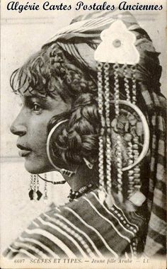 Africa | Young Arab Girl. Algeria | Scanned old postcard.
