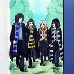 Image may contain: one or more people and people standing - best_drawing_pintous Queen Art, I Am A Queen, Save The Queen, Queen Drawing, Drawing S, Beatles, Harry Potter Crossover, Hogwarts, Harry Potter Decor
