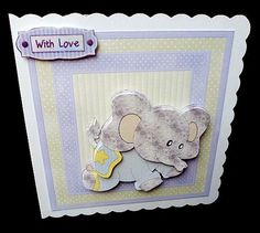 Baby star elephant 7x7 card mini kit on Craftsuprint designed by Angela Wake - made by Diane Hitchcox - I printed out onto 220 gram smooth card ,mounted on a 7 by 7 scalloped edged card ,decoupaged using sticky pads and added sentiment. - Now available for download!