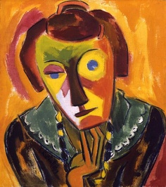 Emy is definitely a Tangerine dream. Portrait of Emy,1919, Karl Schmidt-Rottluff,German, 1884-1976,  http://ncartmuseum.org/art/detail/portrait_of_emy,  North Carolina Museum of Art.