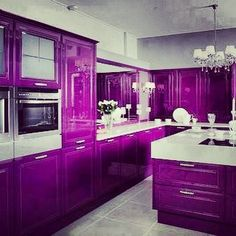 Black And White Kitchen Decorated With Purple For Modular