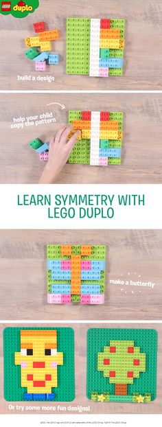 Teach your child about symmetry with this fun and creative copying game. Use LEGO DUPLO baseboards and bricks to build a pattern covering one side of the board, then encourage your child to copy the other side. Make a butterfly, a face, a tree or help your child to make their own design - you could also put a plastic mirror down the middle of the board to learn about mirroring too. This is a great simple game for preschoolers and can easily be made more challenging as your child learns more.
