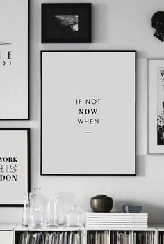 Printable Art - If not Now, when - Printable Wall Art - Wall Decor - Home Decor - Digital Print - Motivation Print - Quote Prints - Digital - Wandkunst Office Wall Decor, Office Walls, Wall Art Decor, Office Artwork, Black Wall Decor, Office Prints, Modern Wall Decor, Wall Decorations, Framed Quotes