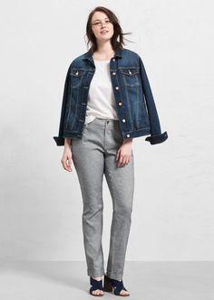 Kalhoty ze směsi lnu a bavlny Mango, Denim, Jackets, Fashion, Manga, Down Jackets, Moda, Fashion Styles, Fashion Illustrations