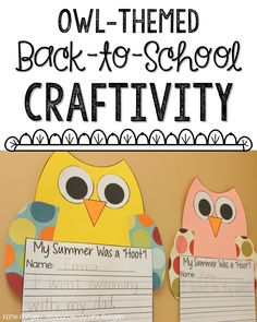 Owl Craftivity with a variety of writing prompts - These make adorable classroom bulletin boards! Owl Classroom Decor, Classroom Crafts, Classroom Themes, Classroom Activities, Kindergarten Writing Prompts, 1st Grade Writing, First Grade Classroom, Kindergarten Classroom, Classroom Teacher