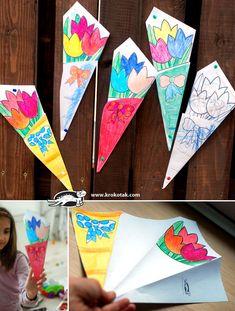 Paper BOUQUET for #MothersDay, FREE printable! #preschool #kidscrafts