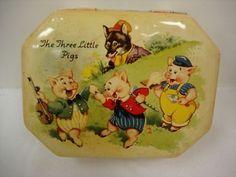VINTAGE RARE DAINTY DINAH HORNER TIN THREE LITTLE PIGS (03/06/2011)