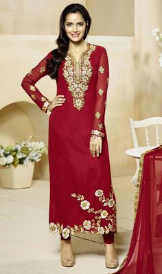 True beauty can come out with this red color embroidered georgette churidar suit. Beautified with lace, resham and stones work. #cutworkdresses #floralembroideredsalwarsuits #straightchuridardress