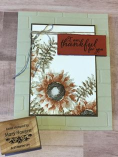 Stampin' Up! Wondrous Wreath, Sunflower Cards, Stamping Up Cards, Rubber Stamping, Hand Stamped Cards, Sympathy Cards, Greeting Cards, Thanksgiving Cards, Fall Cards