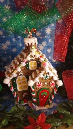 Handmade Crochet Christmas Holiday GINGERBREAD HOUSE.  Finished item found on eBay.  Very lovely.  For inspiration.