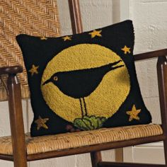 Crow & Moon Hooked Wool Pillow   Sturbridge Yankee Workshop