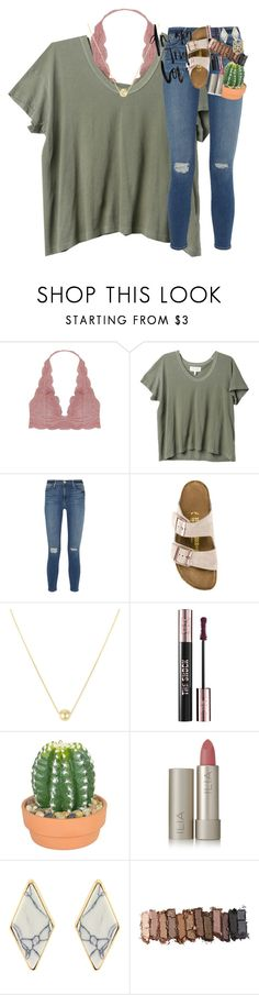 """how tall are you guys??"" by classynsouthern ❤ liked on Polyvore featuring Humble Chic, The Great, Frame, Birkenstock, Yves Saint Laurent, The French Bee, Ilia, Urban Decay and Kendra Scott"