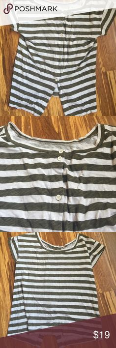 J.Crew Button Back Green Stripe T-Shirt Super cute cotton tshirt with buttons down the back. The last button is missing but the button is included for you to sew back on. Actually looks cuter with the missing button! Forest green stripes. Tags: Madewell, Free People, Anthropologie J. Crew Tops Tees - Short Sleeve